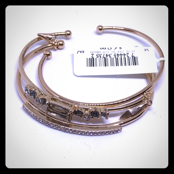 Jewelry - 3 Gold & Crystal Bangle Bracelets [JW-36]